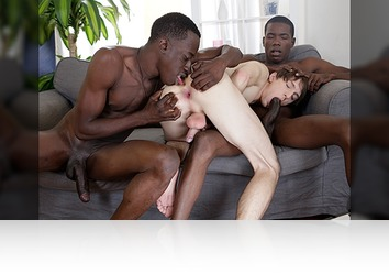 Monday, February 3rd: Kurt Maddox Enjoys A Black Double Penetration Courtesy Of Two Monstrous Uncut Cocks!