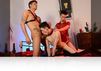 Friday, May 23rd: Two Horny Fuckers Give Aaron Aurora A Double Penetration Treat, Topped Off With Oodles Of Spunk!