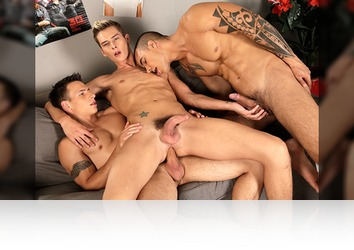 Sunday, October 6th: Dick & Tom DP cumhungry Brit Connor and jizz in his face