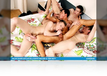 Friday, April 12th: Horny Power-Bottom Slut Gets Fucked By His Three Filthy Mates & Their Toys