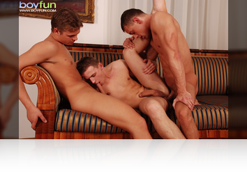 Saturday, Mar 14th:  3 Horny guys take turns sucking cock, rimming and fucking! from BoyFun