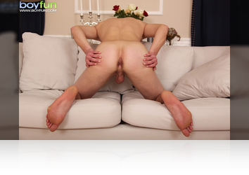 Sunday, Mar 1st:  Michael jacks his cock and splatters his abs with Cum! from BoyFun