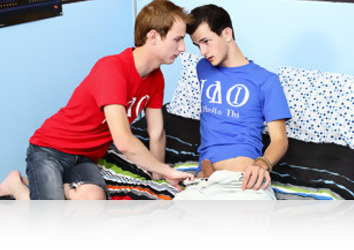 Friday, August 9th: The drama of fraternities is legendary, but the lust Evan James and Jasper Robinson have for each other has to be kept quiet, for now at least. That doesn't mean these college twinks cant suck and fuck like their grades depend on it, and we get to watch as they shoot their load together after Evan James barebacks his buddy and cums all over his ass!