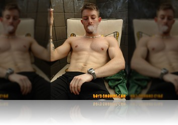 Tuesday, June 26th: Buff and gorgeous Mike Roberts whips out his big uncut cock outside for a hot smoke and stroke