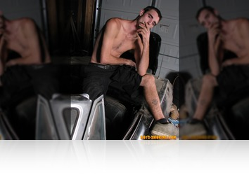 Sunday, October 14th: Hard smokin straight stud Duke fires up his Marlboro Black's in the garage and chainsmokes while he works on his big cock