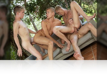 Thursday, August 9th: Bareback twink orgy with masses of cum (Part 2)