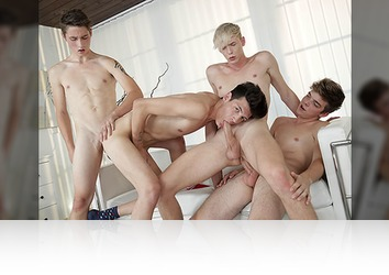 Thursday, April 12th: Bareback twink orgy comes to a cum gushing end