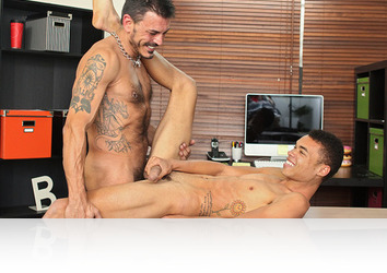 Monday, March 4th: If I'd had a teacher like Collin I would have done everything I could to get that hunks cock too. Robbie isn't scared to make a move, sucking on the tutors hairy dick and giving up his smooth ass for the dominant inked stud to totally slam right there on the desk! It's an amazing fuck too, with Robbie getting some cum play at the end!