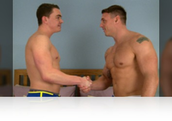 Friday, May 29th: Since Logan did such a great job at getting fucked last time we paired him up with former Royal Marine Tyler to experience how commandos do things! They are straight at it, Logan goes in for a kiss and the passion is obvious and what else do you do following a kiss; suck cock of course and Logan is on his knees, pulling down Tyler boxers and practicing his cock sucking technique and judging how hard he gets Tyler, his cock sucking is pretty dam good! Tyler returns the favour before bending Logan over in doggie and teaching him how marines lube ass; with a dildo pumped at speed! Tyler pulls that out and slides in his own uncut rocket cock; Logan seeming to enjoy rock hard marine up his hole and cant get enough of it riding eagerly, before dumping an impressive load, with many a big squirt flying! Tyler pulls out and seconds later is unloading on his leg! Well done lads!