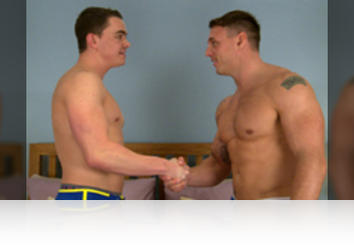 Friday, May 29th: Since Logan did such a great job at getting fucked last time we paired him up with former Royal Marine Tyler to experience how commandos do things! They are straight at it, Logan goes in for a kiss and the passion is obvious and what else do you do following a kiss; suck cock of course and Logan is on his knees, pulling down Tyler boxers and practicing his cock sucking technique and judging how hard he gets Tyler, his cock sucking is pretty dam good! Tyler returns the favour before bending Logan over in doggie and teaching him how marines lube ass; with a dildo pumped at speed! Tyler pulls that out and slides in his own uncut rocket cock; Logan seeming to enjoy rock hard marine up his hole and can't get enough of it riding eagerly, before dumping an impressive load, with many a big squirt flying! Tyler pulls out and seconds later is unloading on his leg! Well done lads! from Englishlads